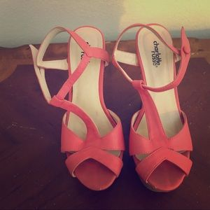 Charlotte Russe wedge sandals coral color